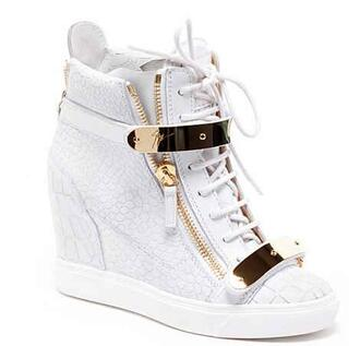 shoes white gold trainer wedge sneakers gold bar shoes wedges crocodile white sneakers brand leopard print pattern sneakers