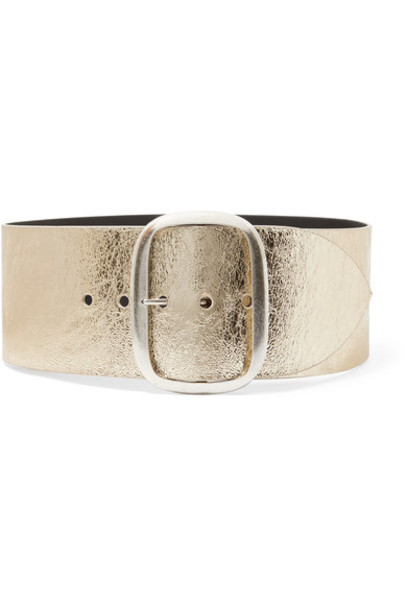 Isabel Marant - Tikky Metallic Textured-leather Waist Belt - Gold