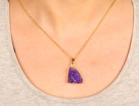Natural Amethyst Drusy Pendant Necklace