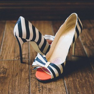 Navy and White Stripes Stiletto Heels Cute Pumps with Bow