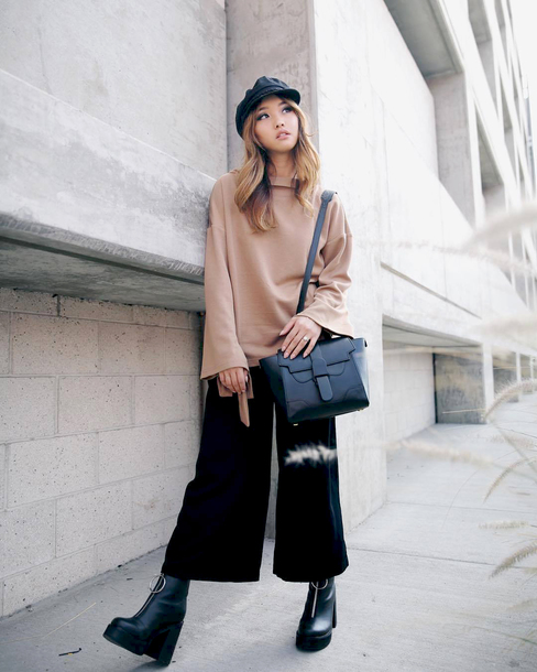 sweater tumblr camel sweater bell sleeve sweater pants black pants cropped pants culottes black culottes bag black bag fisherman cap boots black boots