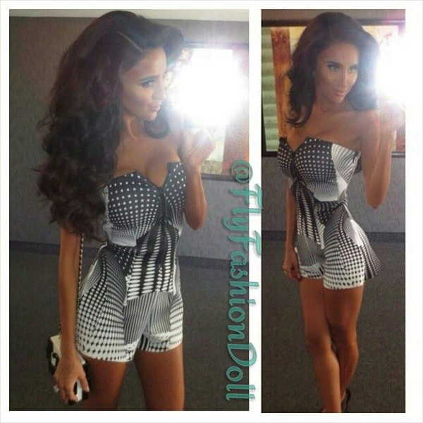 dress romper aztec black and white nightlife