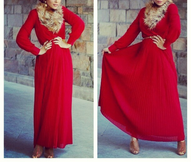 Long sleeve pleated maxi dress - DIR Fashion