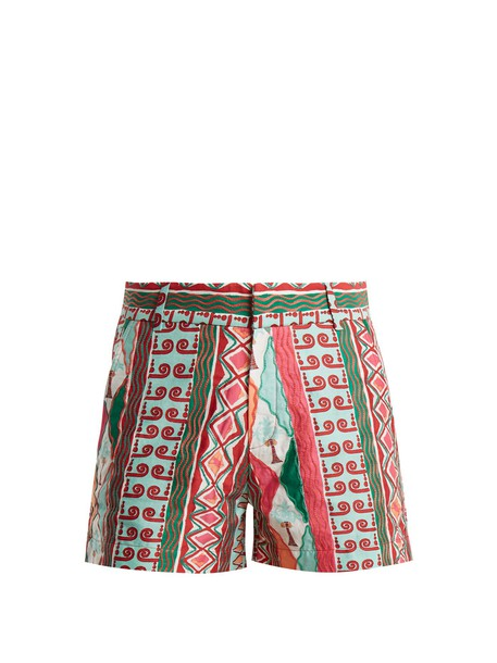 shorts embroidered cotton print pink