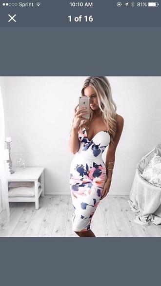 dress floral white midi dress sleeveless bodycon dress pencil skirt