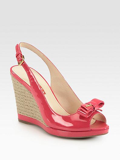 40d85294a1d Prada - Patent Leather Bow Espadrille Wedge Sandals - Saks.com