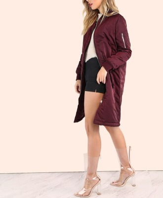 jacket zip boots clear clear boots outfit bomber jacket longline bomber burgundy shoes