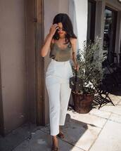 top,racerback,black tank top,mules,white pants,handbag,high waisted pants,round sunglasses