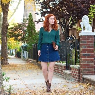 tf diaries blogger denim skirt button up skirt
