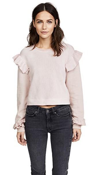 LoveShackFancy sweatshirt ruffle rose sweater