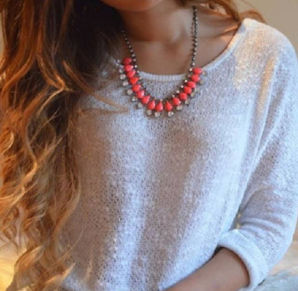 clothes white pull jewels jewelry necklace big necklace silver silver jewelry coral orange strass plastron