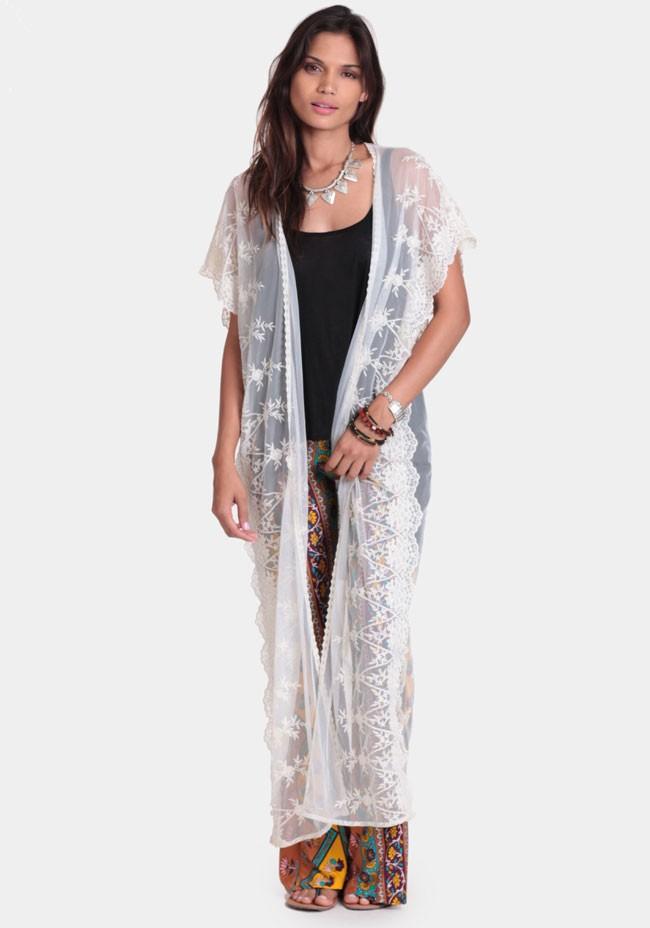 In the clear lace kimono