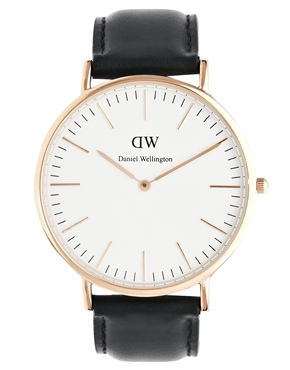 Daniel Wellington | Daniel Wellington Sheffield Rose Gold Black Leather Strap Watch at ASOS