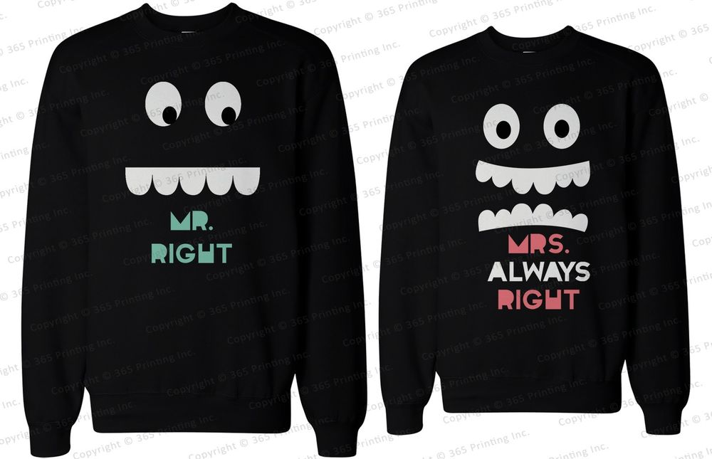 His and Her Matching Couple Sweatshirts Mr Right and Mrs Always Right | eBay