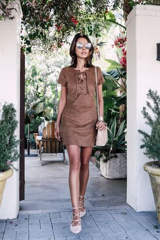 dress brown lace up dress lace up pumps blogger cat eye lace up dress brown suede dress faux suede dress suede dress lace-up shoes bucket bag lace up flats viva luxury lace up detail