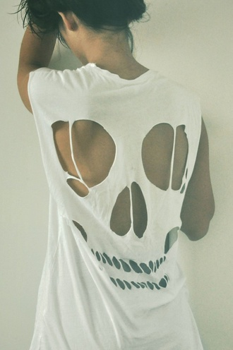 t-shirt skull love tumble white hot top tank top back cut-out halloween skull t-shirt shirt