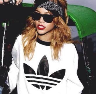 sweater rihanna riri swag style streetstyle streetwear adidas black white logo