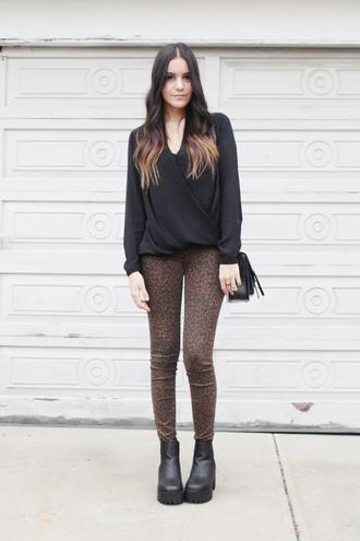 blogger dress like jess skinny pants draped animal print platform shoes