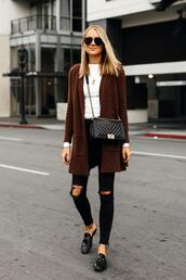 fashionjackson,blogger,sweater,top,jeans,shoes,bag,sunglasses,jewels,chanel bag,loafers,cardigan,black jeans,fall outfits