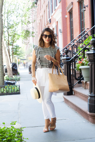 the corporate catwalk blogger gingham leather tote bag