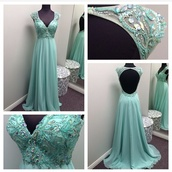 dress,prom dress,long prom dress,backless dress,backless prom dress,bag,jacket,mint,champagne,prom,turquoise,beautiful blue dress,blue dress,beautiful,open back,sparkle,diamonds,girl,tanned,seafoam blue pretty,ball gown dress,evening dress,starry night,color aquamarine,turquoise dress
