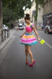 dress,spring,colorblock,bright,bag,shoes,multicolor,dress with side cutouts,cut-out,flirty,girly,stripes,colorblock dress,cut-out dress,pink,yellow,short sleeve dress,teal,neon yellow studded clutch
