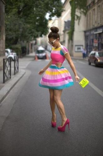 shoes dress bag spring colorblock bright