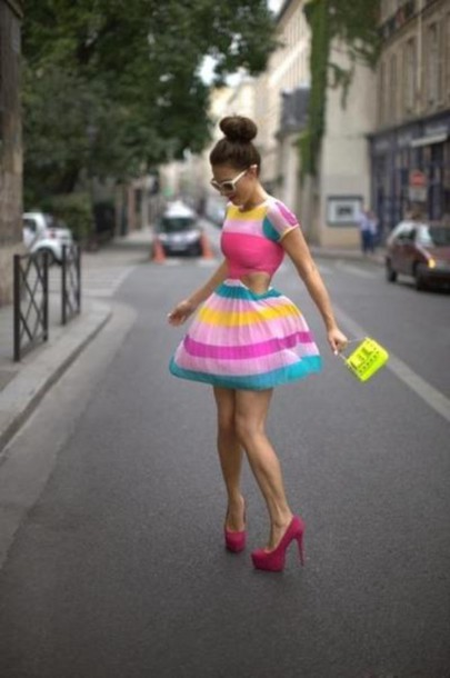 dress spring colorblock bright bag shoes multicolor dress with side cutouts multicolor cut-out flirty girly stripes colorblock dress cut-out dress pink yellow short sleeve dress teal neon yellow studded clutch