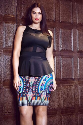 top chloe marshall model plus size curvy black top sleeveless peplum top skirt printed skirt pencil skirt summer outfits tribal pattern