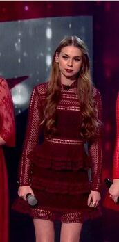 dress,party dress,burgundy,ruffle dress,long sleeve dress