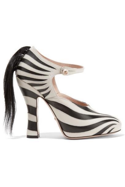 56685dc333c Gucci - Goat Hair-trimmed Leather Pumps - Zebra print - Wheretoget