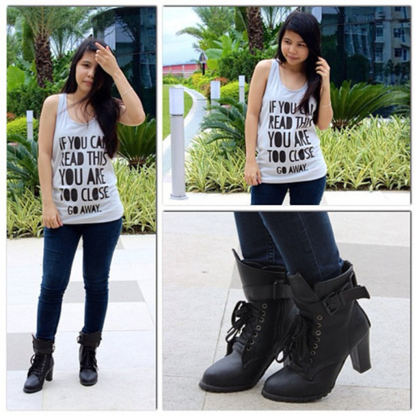 Tank top: skinny jeans, ankle boots, little black boots, buckle ...