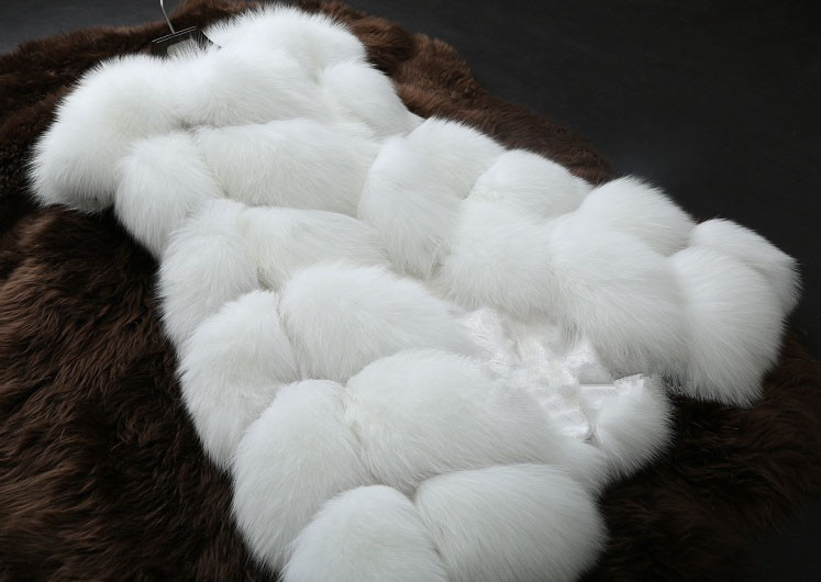 Online shop women plus size long faux fox fur vest fake fur gilet faux rex rabbit fur