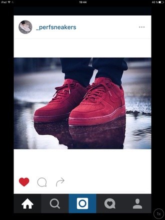 shoes sneakers nike red nike air force low