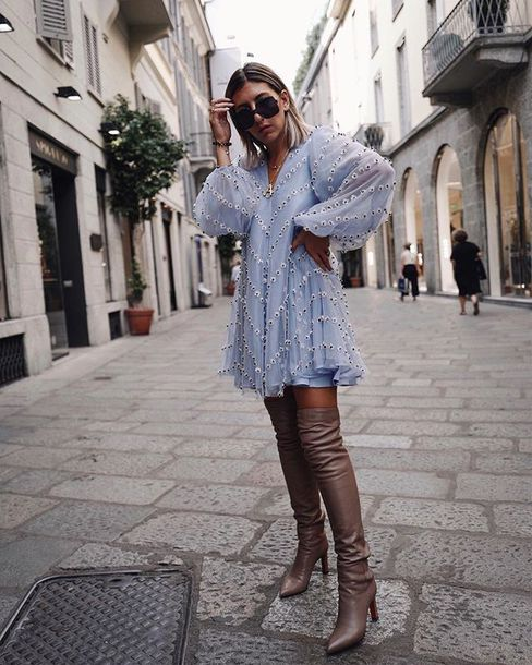 dress blue dress mini dress boots over the knee