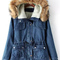 Blue hooded long sleeve pockets denim coat - sheinside.com