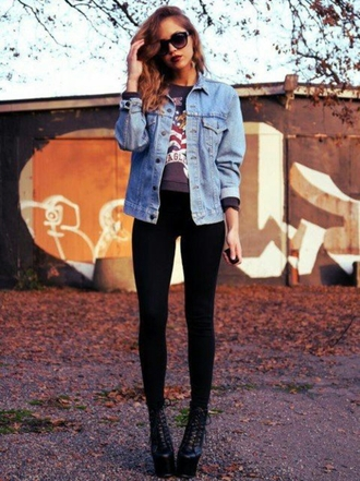 sweater cropped sweater grunge denim jacket black skinny jeans skinny jeans boots shoes on point on point clothing sunglasses street street fashion streetwear