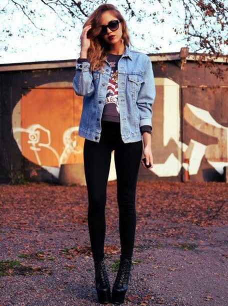 sweater cropped sweater grunge denim jacket black skinny jeans skinny jeans boots shoes on point on point clothing sunglasses street streetstyle streetwear jacket grunge jean jacket