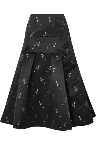 skirt midi skirt pleated embroidered midi black satin