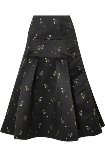 Erdem skirt midi skirt pleated embroidered midi black satin