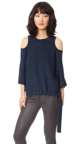 Tibi Cutout Sleeve Silk Blouse - Midnight Navy