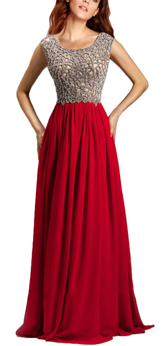 dress red prom dress chiffon dress cap sleeves white backless boat neck dress