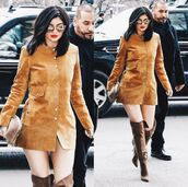 coat,kylie jenner,over the knee boots,suede,suede jacket,sunglasses,dress,fashion week 2016,button up,brown boots,isabel marant,NY Fashion Week 2016