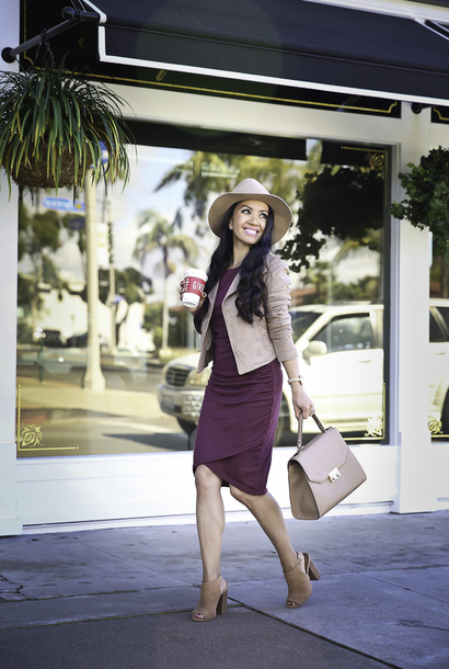 stylish petite blogger jacket dress tank top shoes bag top hat jewels fall outfits handbag booties purple dress