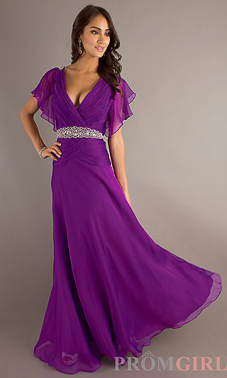Long V Neck Dresses for Prom, Short Sleeve Prom Gowns- PromGirl