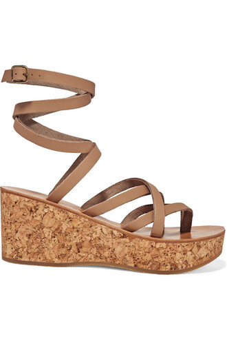 sandals wedge sandals leather beige shoes