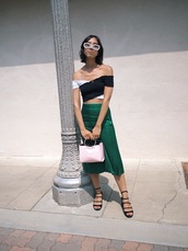 top,skirt,midi skirt,crop tops,off the shoulder,off the shoulder top,black and white,sandals