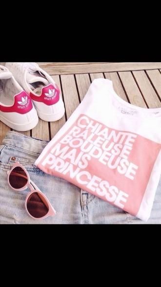 t-shirt white tee shirt pink quote on it