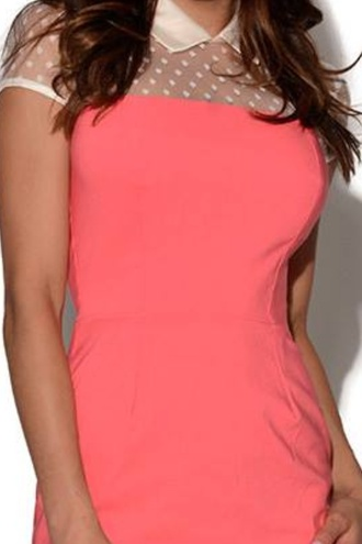 dress bodycon dress neon pink coral coral dress mesh mesh dress dotted dress polka dots