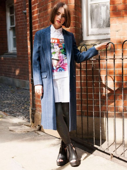 lily collins coat shirt